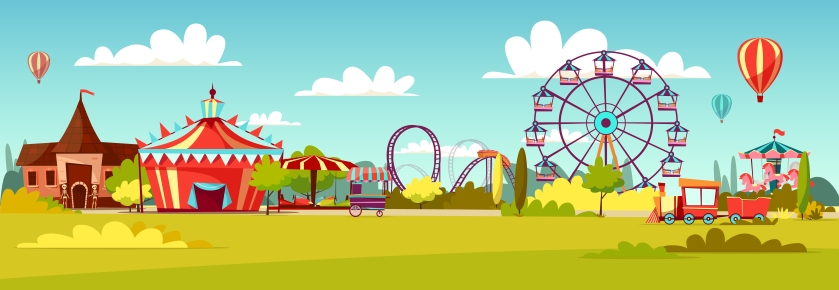 Amusement park vector cartoon illustration of attractions coaster rides, circus merry-go-round carousels and observation wheel